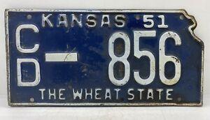 51 KS. Antique Automobile Old Rat Rod Vintage 1951 Kansas license Plate CD-856