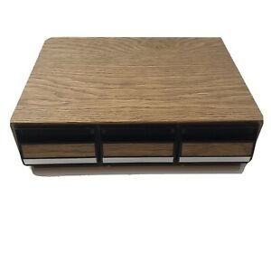 Vintage 42 Cassette Tape Storage Case Faux Wood Finish 3 Drawer Cabinet W/ Tapes