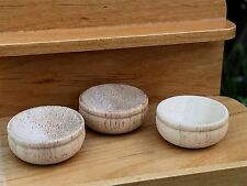 Miniature Dollhouse FAIRY GARDEN Accessories ~ Set of 3 Mini Wooden Wood Bowls