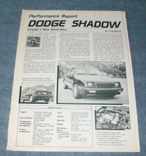"1987 Dodge Shadow Vintage Info Article ""Chrysler's New Generation"""