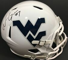 WILL GRIER SIGNED AUTOGRAPHED WEST VIRGINIA MOUNTAINEERS FOOTBALL HELMET F/S JSA