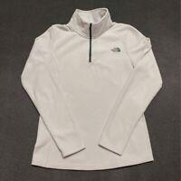 The North Face Womens Fleece Sweatshirt White Zip Long Sleeve Mock Neck S