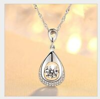 Dancing Love Diamond Accent Sterling Silver Halo Teardrop Pendant Necklace Gift