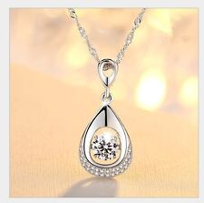 Moving Love Cubic Zirconia Sterling Silver Halo Teardrop Heart Pendant Necklace