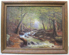 Antique Oil Painting New York Landscape Stream Impressionism Signed WALTER GREEN