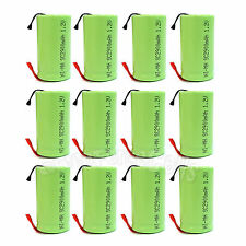 12 pcs SubC Sub C 2900mAh 1.2V NiMH Rechargeable Battery Cell with Tab Green