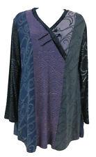 JG's MAD LAB Staley Gretzinger velvet trim art-to-wear stretch vneck tunic top S