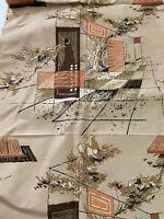 "Mid Century Modern Barkcloth Atomic House MCM 45"" x 80"" Unused Remnant"