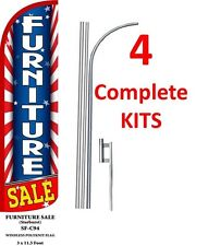 4 (four) FURNITURE SALE red/wh/bl 15' x 3' WINDLESS SWOOPER FLAGS KIT