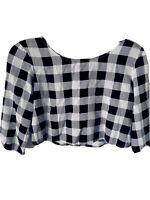 American Apparel Women's Small Crop Top 3/4 Sleeve Black White Checker Pattern