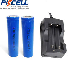 2X 2200mAh 3.7V ICR18650 Li-ion Rechargeable Battery + 18650 Dual Charger USA
