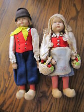 Vintage Pair of German Wooden Dolls by Sophie Schmid - Dutch Outfits