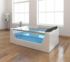 XXL Luxus Whirlpool Badewanne freistehend mit Glas LED Heizung Glasfront für Bad