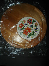 """NEW Wood Appetizer Serving Tray Cheese Crackers Bread, Etc., DOLPHIN BRAND 12"""""""