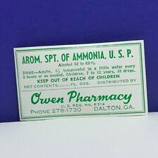 Drug store pharmacy ephemera label advertising Owen Dalton Georgia GA ammonia 3