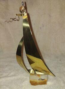 Vintage Brass 11in tall Sail Boat Sculpture signed by JOHN DE MOTT