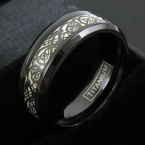 Black Titanium Men's Celtic Dragon Cream Wedding Band Ring Size 9-13