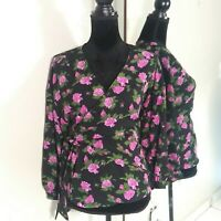 Who What Wear Womens Long Sleeve Wrap Blouse size Small Black Floral