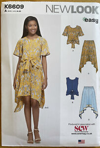 New Look K6609 Tie Top Frill Sleeve & Skirt Sewing Pattern Size 8-20