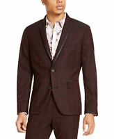 INC Mens Blazer Red Size Large L Windowpane Grid Printed Two-Button $129 #243