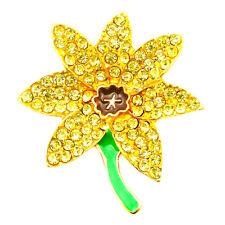 NEW GOLD DAFFODIL BROOCH PINS SMALL CRYSTAL ENAMEL LADIES COSTUME JEWELLERY JOB
