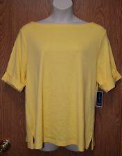 Womens Buttercup Yellow Karen Scott Short Sleeve Shirt Size 2X NWT NEW