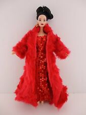 Flawless Red Fitted Sequined Dress & Long Red Fur Coat For Barbie Doll