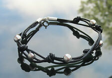 Black Genuine Leather Cord Bracelet with 925 Silver Clasp Ends Beads