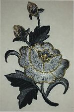 "2 1/2"" x 4"" Grey Gray Oriental Blossom Flower Embroidery Applique Patch"