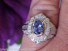 $2,897 DREAMY! 14K SHOPNBC DEEP BLUE TANZANITE .43CT BAGUETTE DIAMOND RING