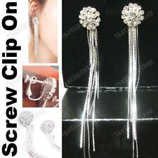Clip on Screw Crystal Rhinestone Long Slinky Earrings Liquid Silver Plated Round