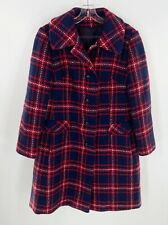 Women's Vintage Red Blue Plaid Bromleigh New York Jacket Coat