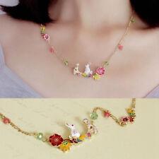 Women Girl Enamel Flower Rabbit Necklace Pendant Gold Chain Choker Jewelry New