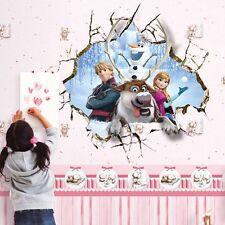 Princess Kristoff Anna 3D Cracked Mural Wall Sticker Kids Room Decor Art