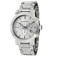 100% New Burberry BU9350 Check Silver Dial Chrono Stainless Steel Men's Watch