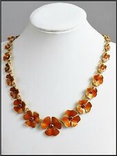 NEW PILGRIM DENMARK GOLD PLATED CHAIN NECKLACE SWAROVSKI CRYSTALS ENAMEL FLOWERS