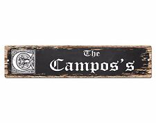 SPFN0420 The CAMPOS'S Family Name Street Chic Sign Home Decor Gift Ideas