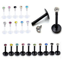 10 X Black White 16G Acrylic CZ Crystal Labret Stud Monroe Bar Lip Ring Piercing