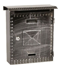 Mailbox Postman mm 220x70x270h Wrought Iron Black with Roof