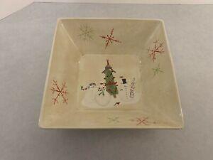 "Oneida Snowmates - Debbie Taylor-Kerman Earthenware Serving Bowl - Square 11.25"""