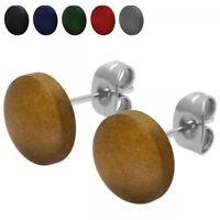 1 Paar Holz Ohrstecker Ohrringe in verschiedenen Farben rund farbig Natur Damen