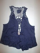 Route 66 Indigo Blue Floral Cotton Crochet Boho Vest 6 6X Lot G7
