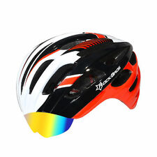 RockBros Helmet Unisex Road Bike MTB Cycling Helmet with Lens Red White 57-62cm