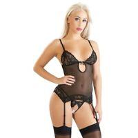 Intimo lingerie donna sexy nero erotica micro rete guepiere e perizoma aperto