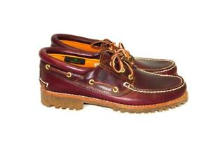 Timberland 9.5 Burgundy Leather Icon 3 Eye Classic Handsewn Lug Shoes Lace Up