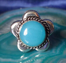 Ring Bloom Silver Plated Semi-Precious Stone Blue in Flower 18 mm Size 58