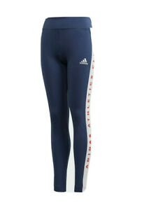 Girls adidas Athletic Club Bold Leggings Ages 4-15 Navy Blue White BNWT FL1781