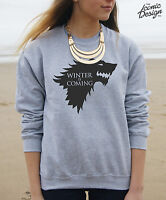 Winter Is Coming Jumper Sweater Top Christmas Slogan GoT Wolf Merry