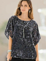Black and Silver Devore Velvet  Loose and Flowing Evening Party Tunic top