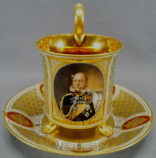 Dresden Hand Painted Wilhelm I Portrait Gold & Jeweled Empire Form Cup & Saucer